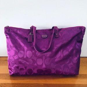 Coach Packable Fuchsia Weekender/Travel Bag NWOT